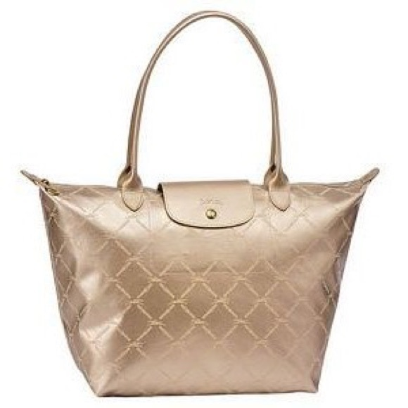 a3542a3ce6e1 Longchamp Handbags - Longchamp Metallic Gold Equestrian Grid Tote